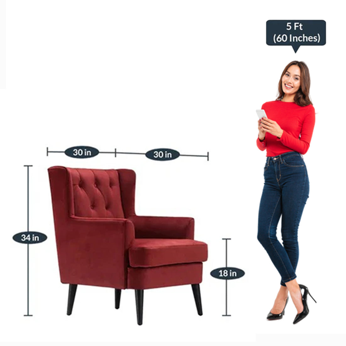 Detec™ Wing Chair - Red Color