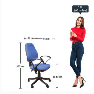 Detec™ Comfort Medium Back Revolving Chair for Office Purpose - Blue