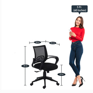 Detec™ Ergonomic Revolving Chair - Black