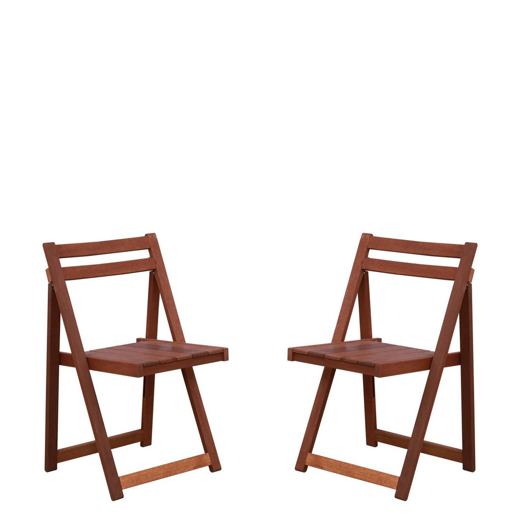 Detec™ Foldable Chair (Set of 2) in Natural Brown Colour
