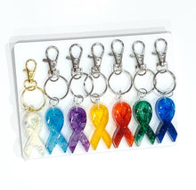 Load image into Gallery viewer, Cancer Awareness Ribbons Keychains