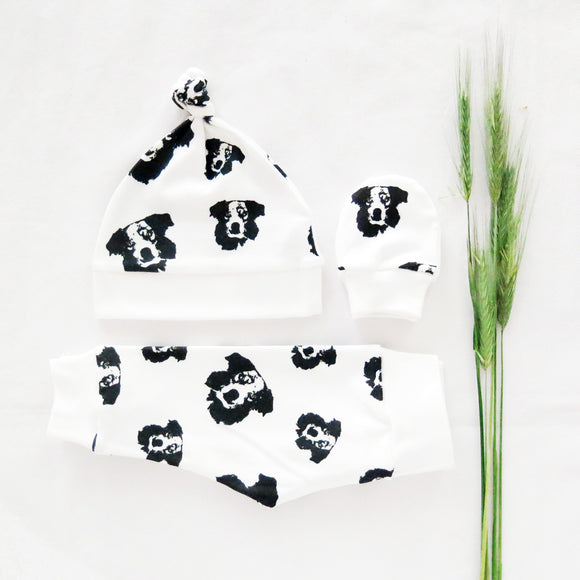 Australian-Shepherd-Print-newborn-clothes-hat-mittens-leggings