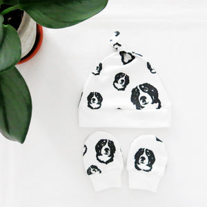 Bernese Mountain Dog Print Organic Cotton Unisex Baby Hat And Mittens Set