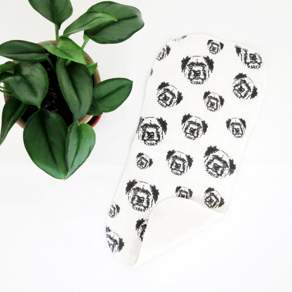 Border Terrier Print Organic Muslin And Terry Cloth Burp Cloth Size 18