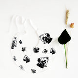 Organic bib with Boxer dog print