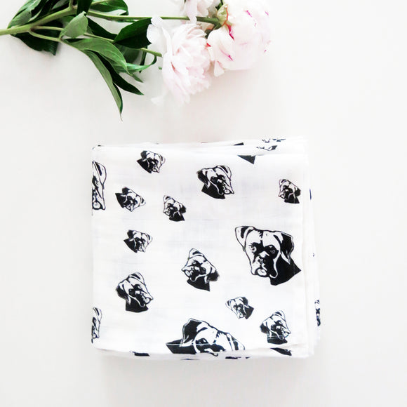 Boxer Dog Print Organic Baby Muslin Baby Swaddle Blanket Size 35