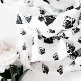 "Boxer Dog Print Organic Baby Muslin Baby Swaddle Blanket Size 35"" x 55"""