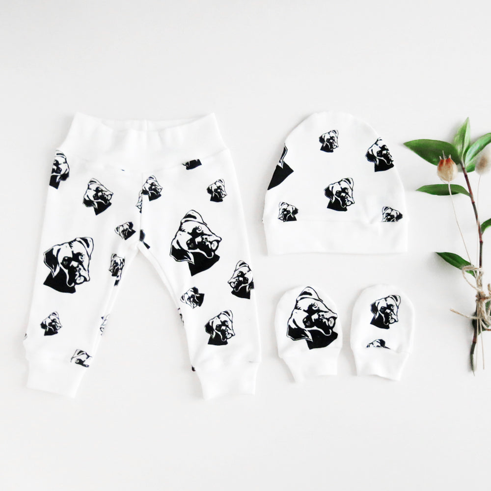 Boxer Dog Print Baby Clothes Organic Cotton Newborn Hat No Scratch Mittens And Leggings