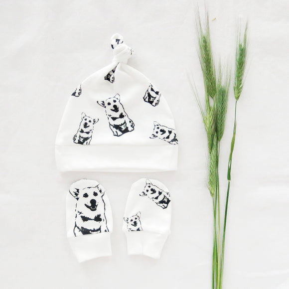 Corgi Dog Print Organic Cotton Unisex Baby Hat And Mittens Set