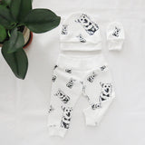 Corgi Dog Print Organic Cotton Unisex Newborn Leggings Hat And Mittens Set