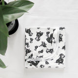 "Dachshund Dog Print Organic Cotton Baby Swaddle Blanket 35"" x 35"""