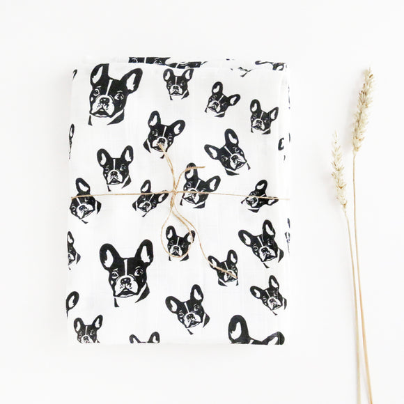 Organic-muslin-swaddle-with-french-bulldog-print