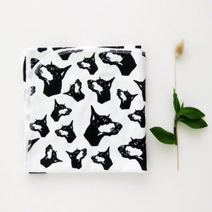 "Doberman Dog Print Organic Cotton Baby Swaddle Blanket 35"" x 35"""