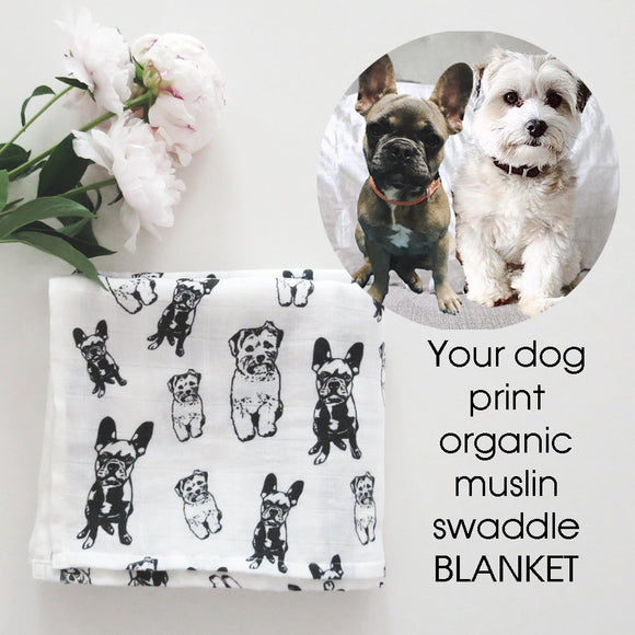 Personalised Organic Muslin Baby Swaddle Blanket With Your Dog Or Cat Print