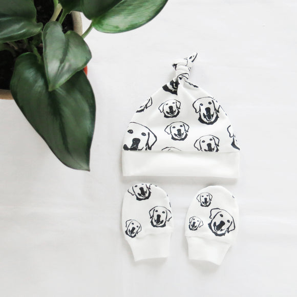 Labrador Retriever Dog Print Organic Cotton Unisex Baby Hat And Mittens Set