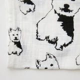 "West Highland Terrier Dog Print Organic Baby Muslin Swaddle Blanket 35"" x 55"""