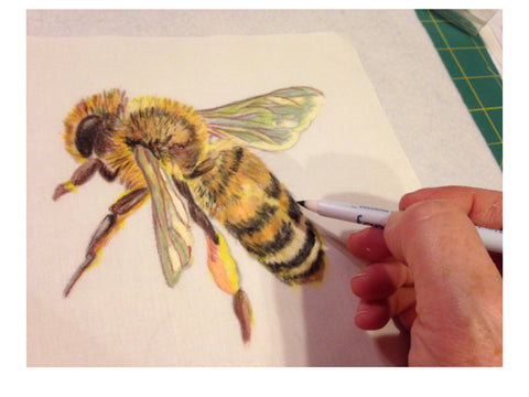 bee painted with inks