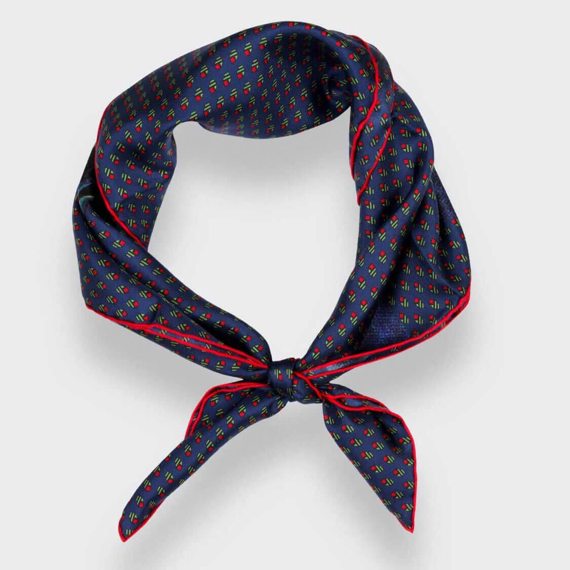 'Grand Pan' Silk Bandana, Navy Blue