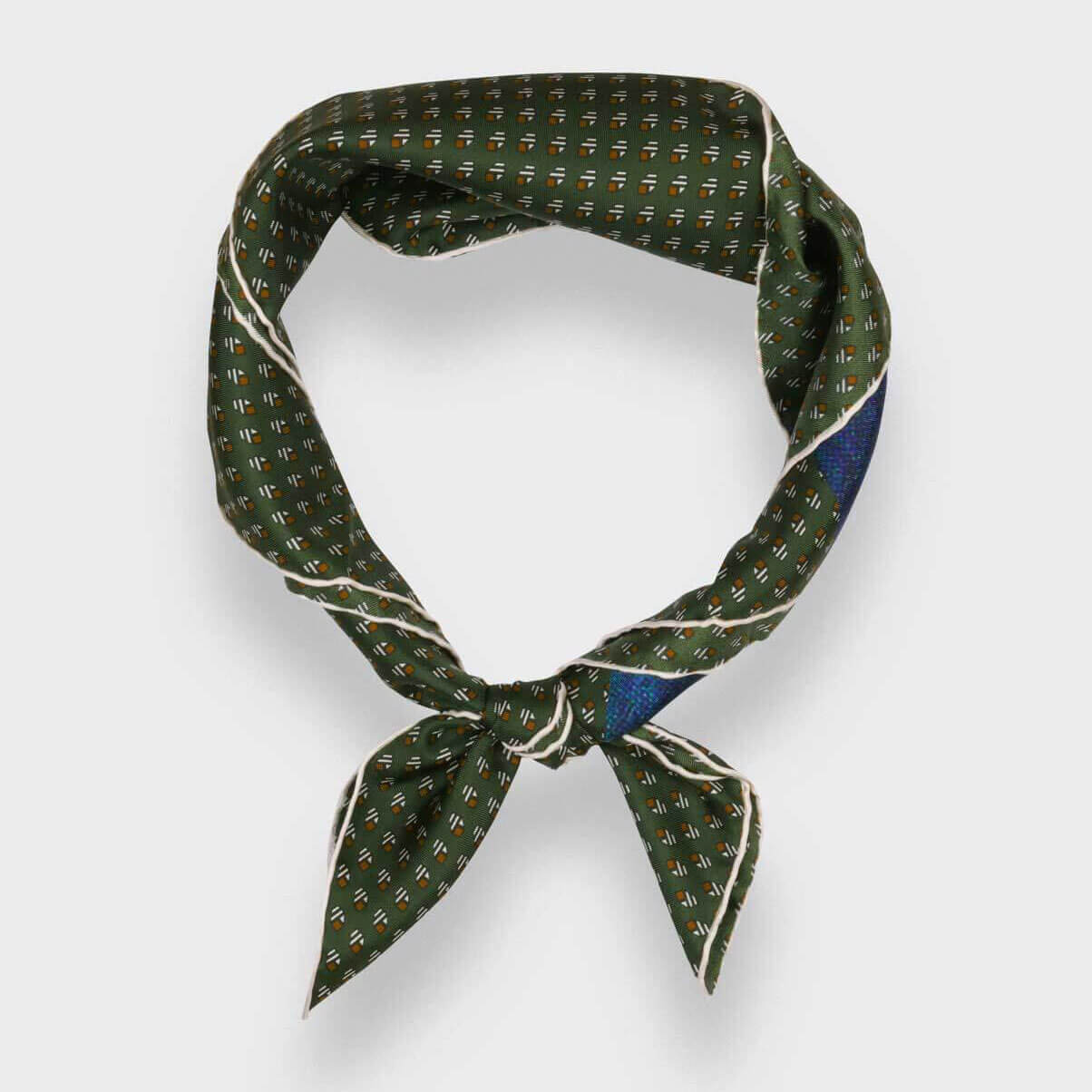 'Grand Pan' Silk Bandana, Khaki