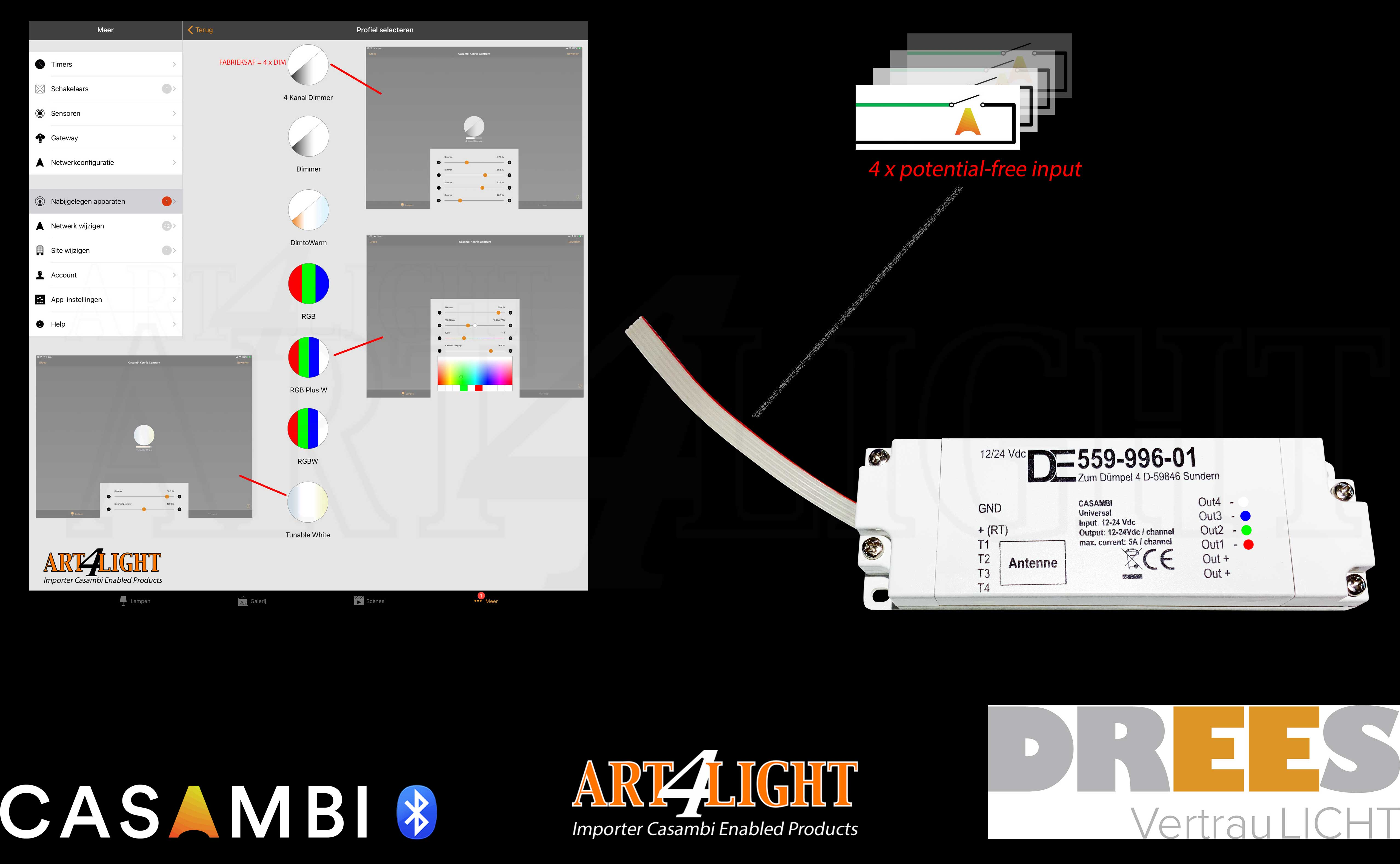 OVERVIEW OF CONFIGURATION  DREES RGBW LEDSTRIP DIMMER CASAMBI