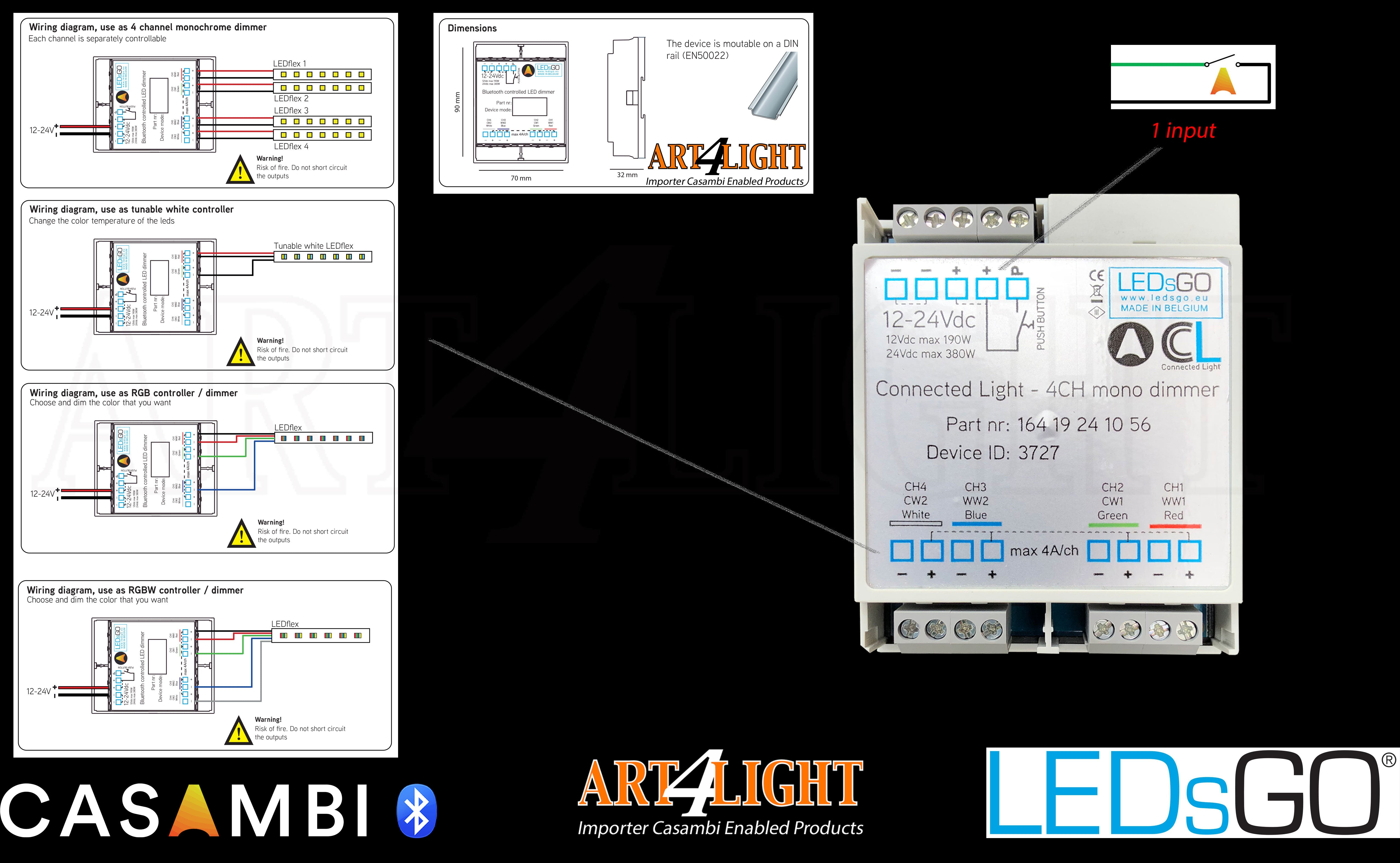 OVERVIEW OF CONFIGURATION  LEDSGO 4CH DIMMER CONNECTED LIGHT CASAMBI