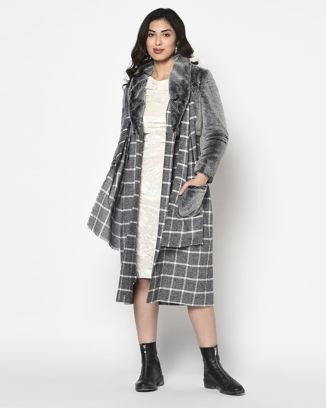 Grey Fur and Checks Overcoat