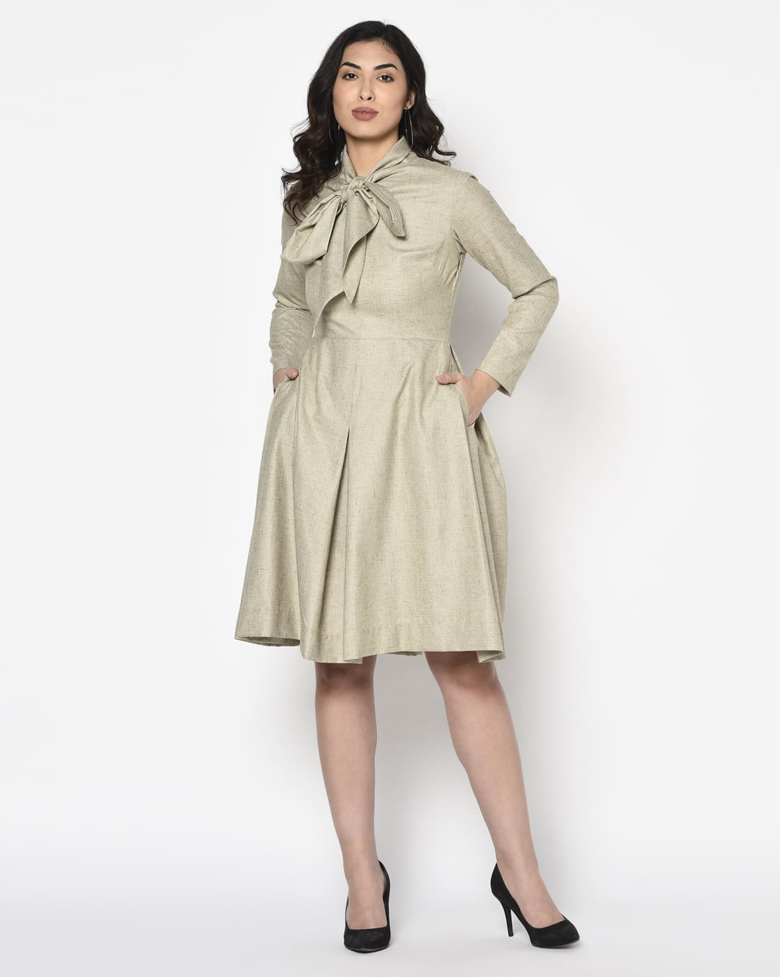 Khaki Olive box pleated Dress With Scarf