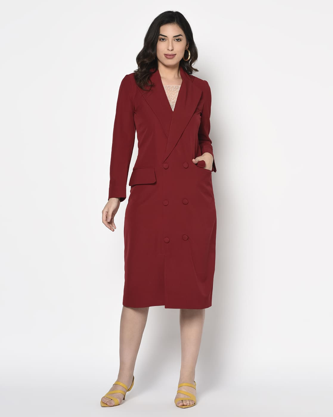 Red crepe Coat Dress