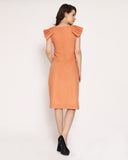 Pretty in Pleats Sleeves Dress- Coral Orange