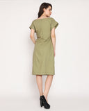 The Effortless Serene Dress - Olive Green