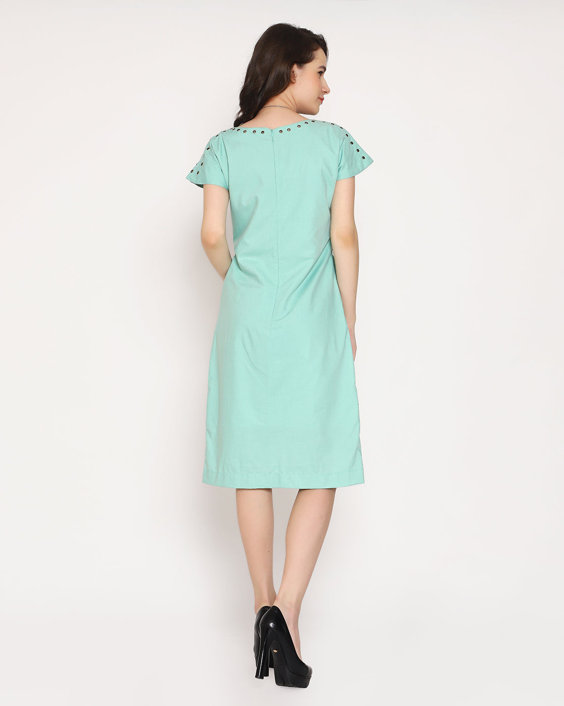 The Victorian Eyelet Dress - Sea Green