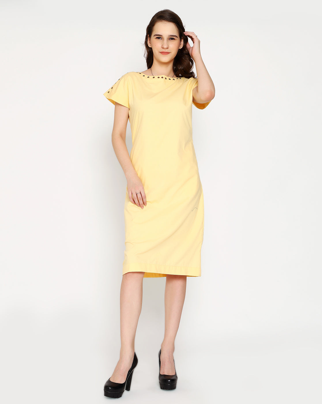 The Victorian Eyelet Dress - Buttercup Yellow