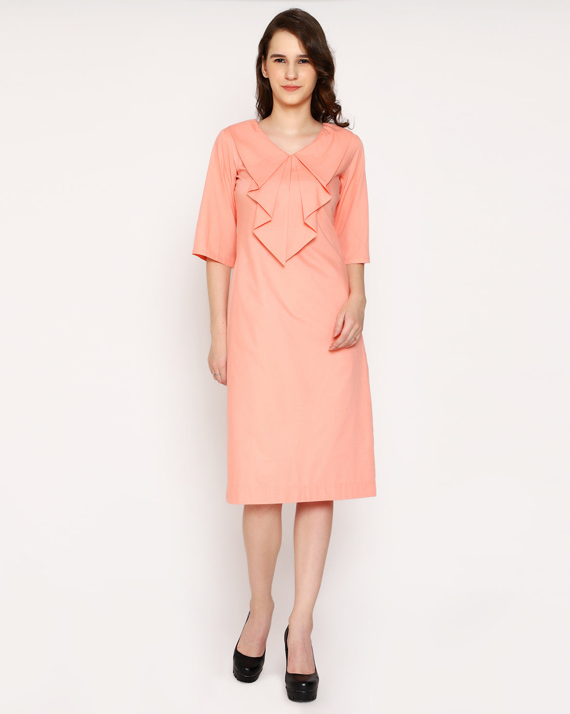 Posh waterfall Collar Dress - Flamingo Peach