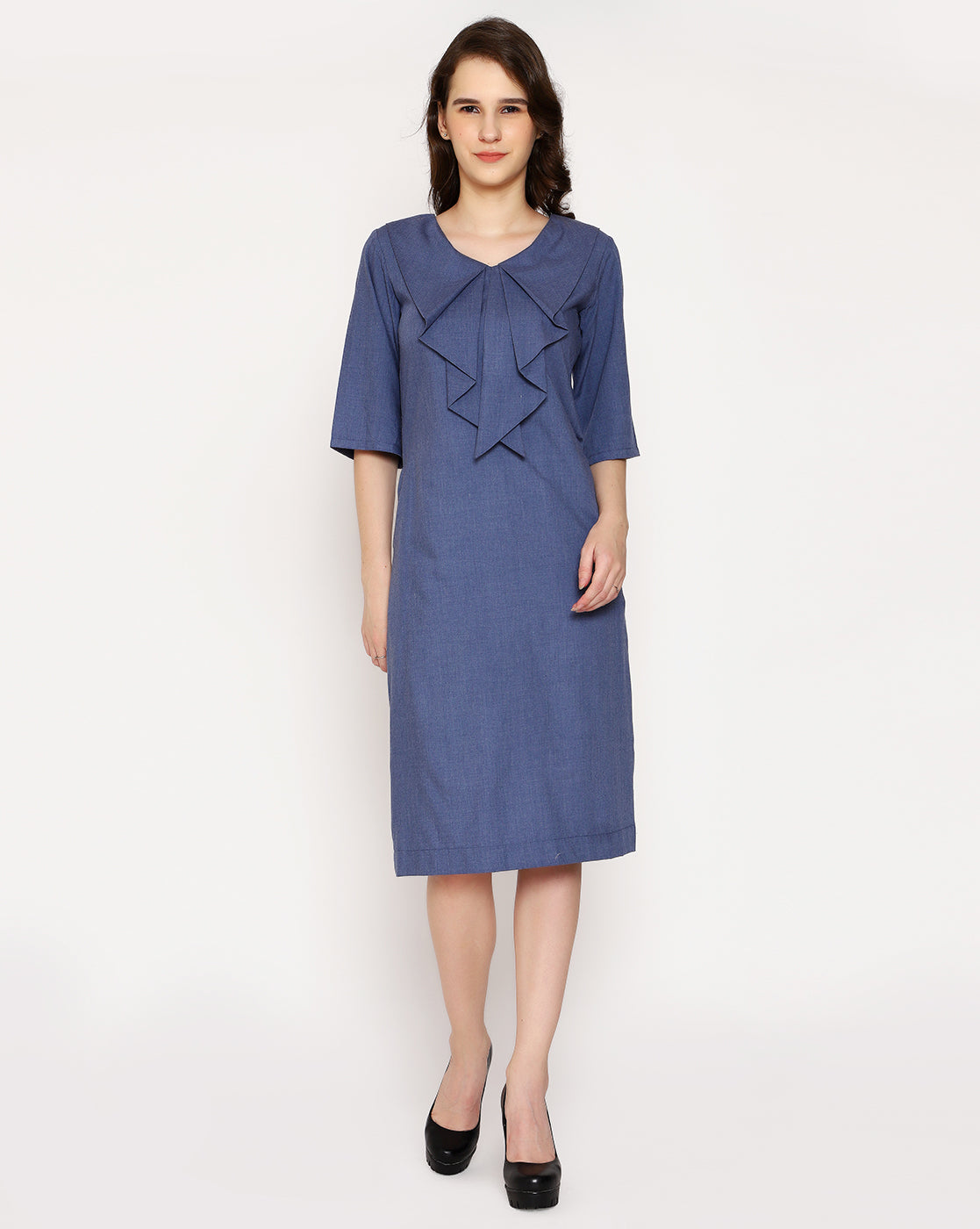 Posh waterfall Collar Dress- Aged Denim