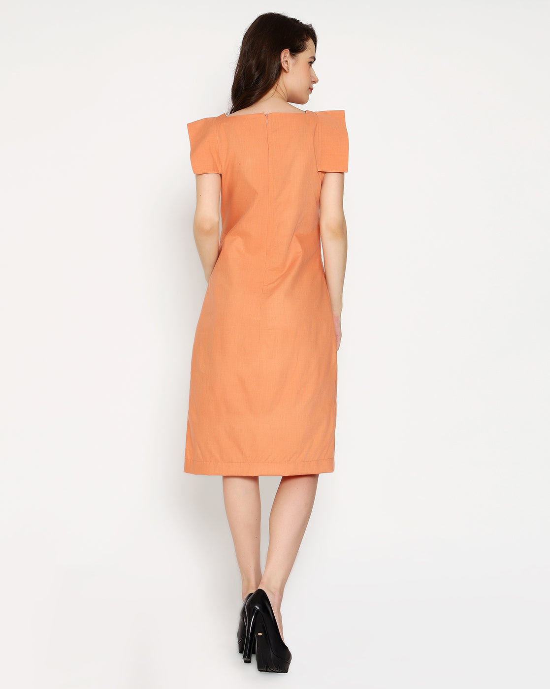 The Boss cape Sleeve Dress - Coral Orange