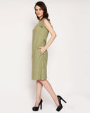 The Boss cape Sleeve Dress - Olive Green