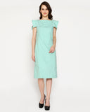 The Boss cape Sleeve Dress - Sea Green