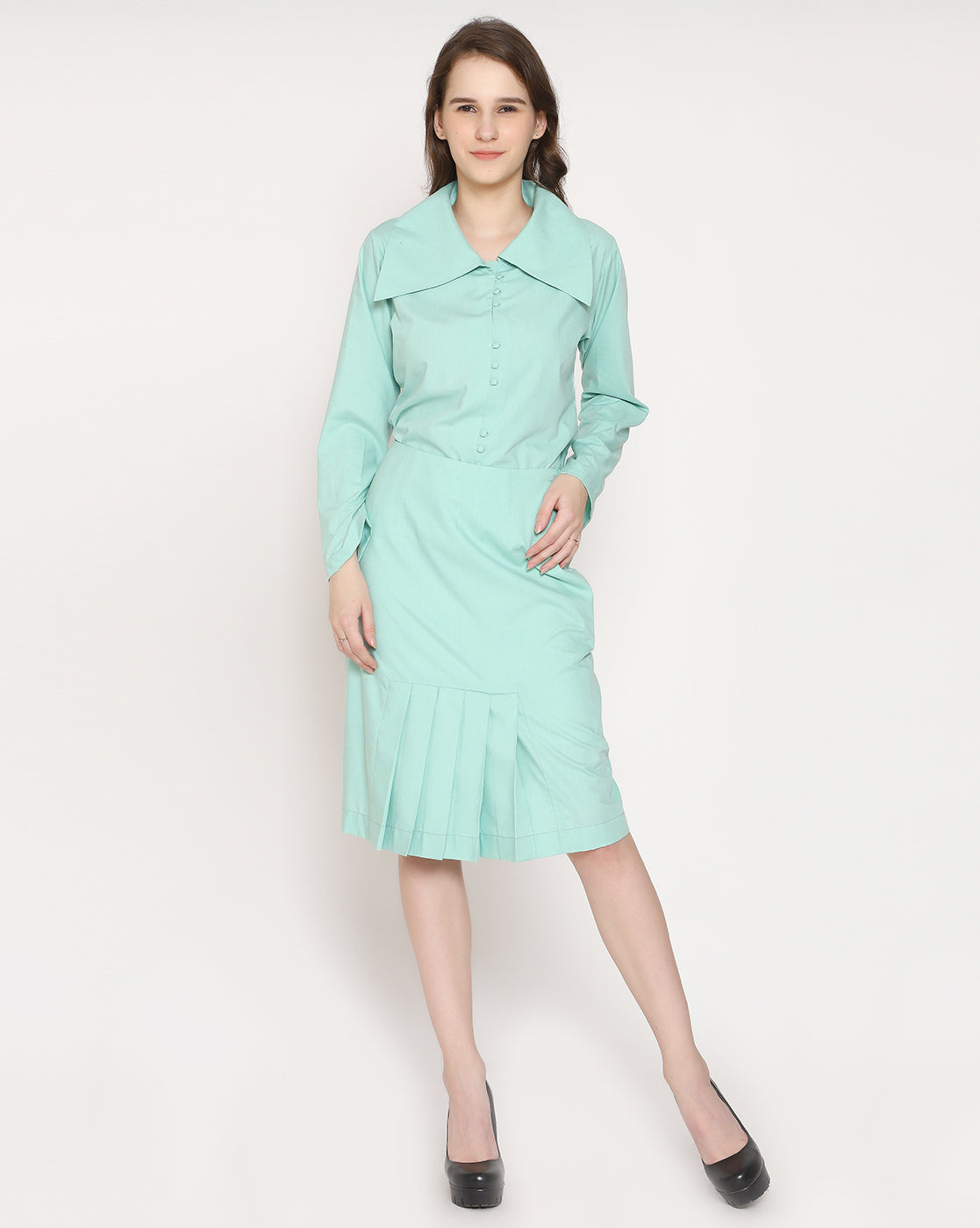 The Dainty Pleated skirt - Sea Green