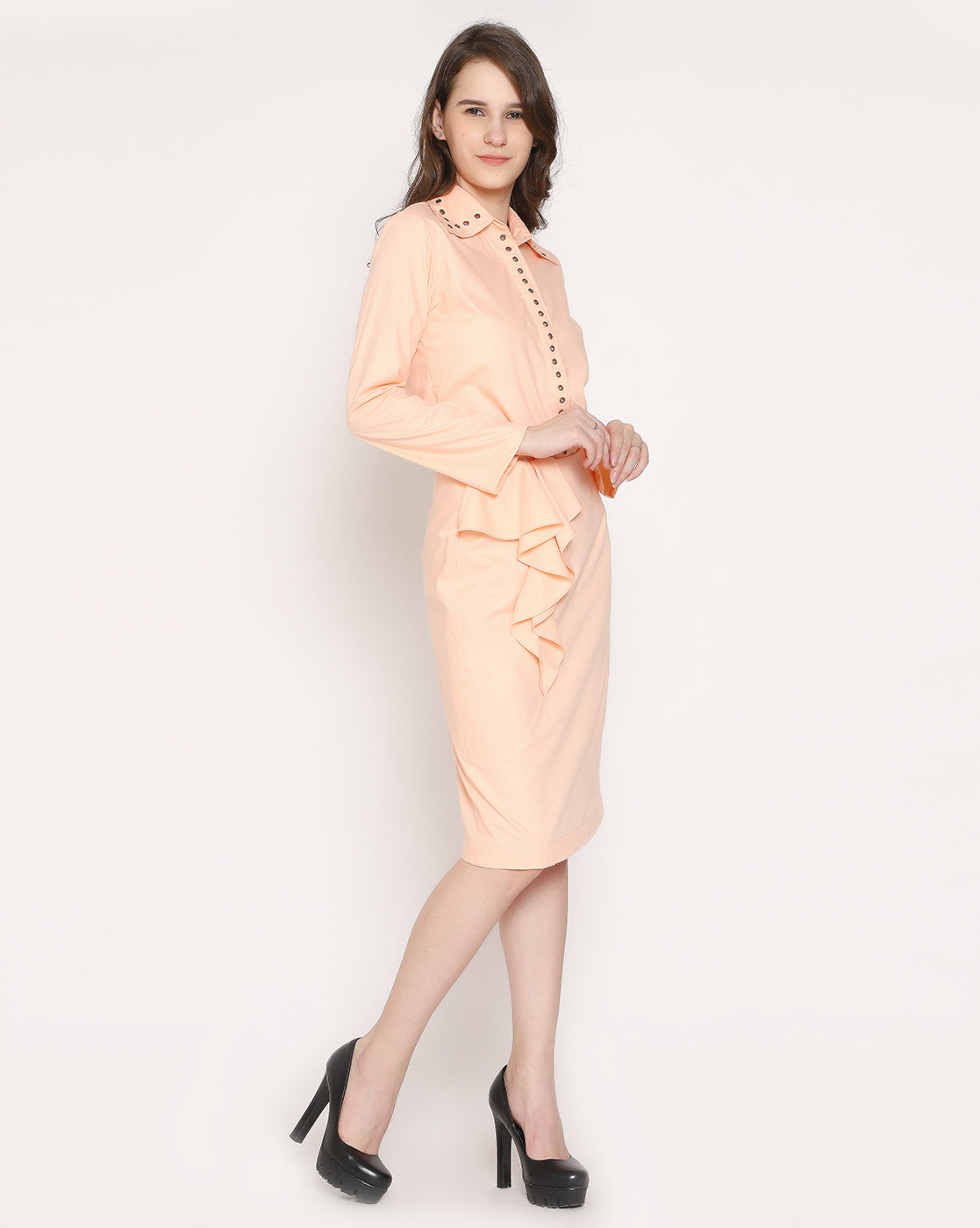 The Italian Eyelet Shirt - Naive Peach