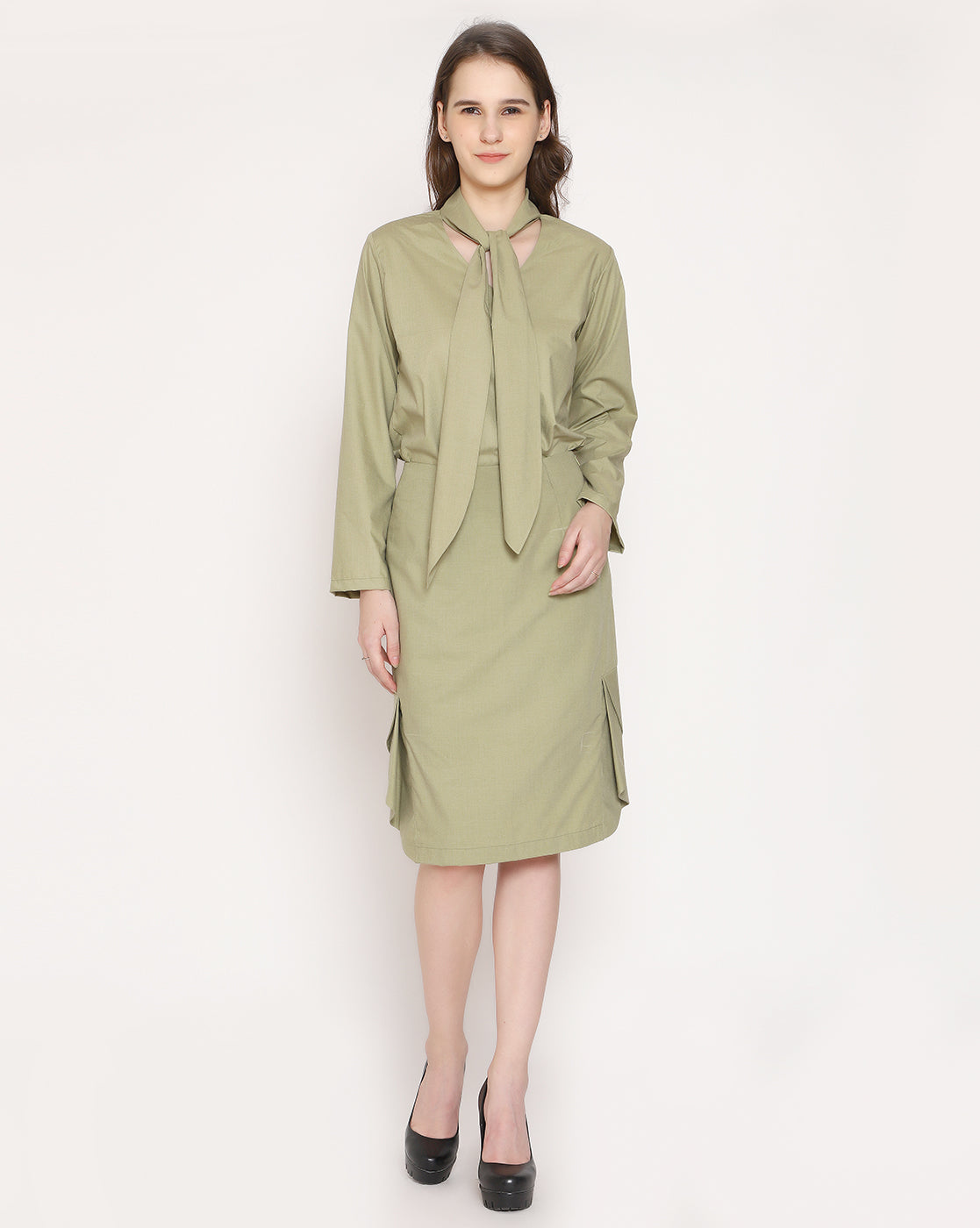 The Classic Cascade Skirt - Olive Green
