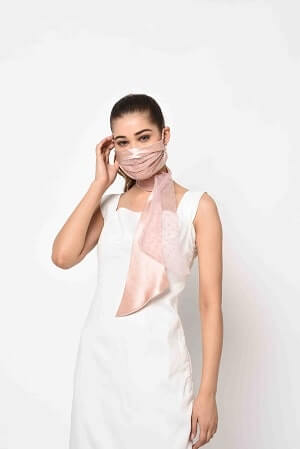 Nude Pink Designer Mask with Scarf