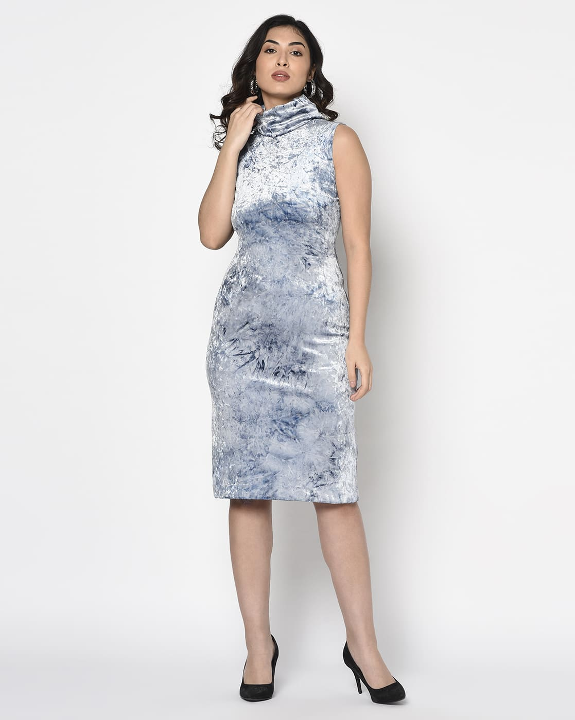 Blue Velvet Turtle Neck Dress with pouch