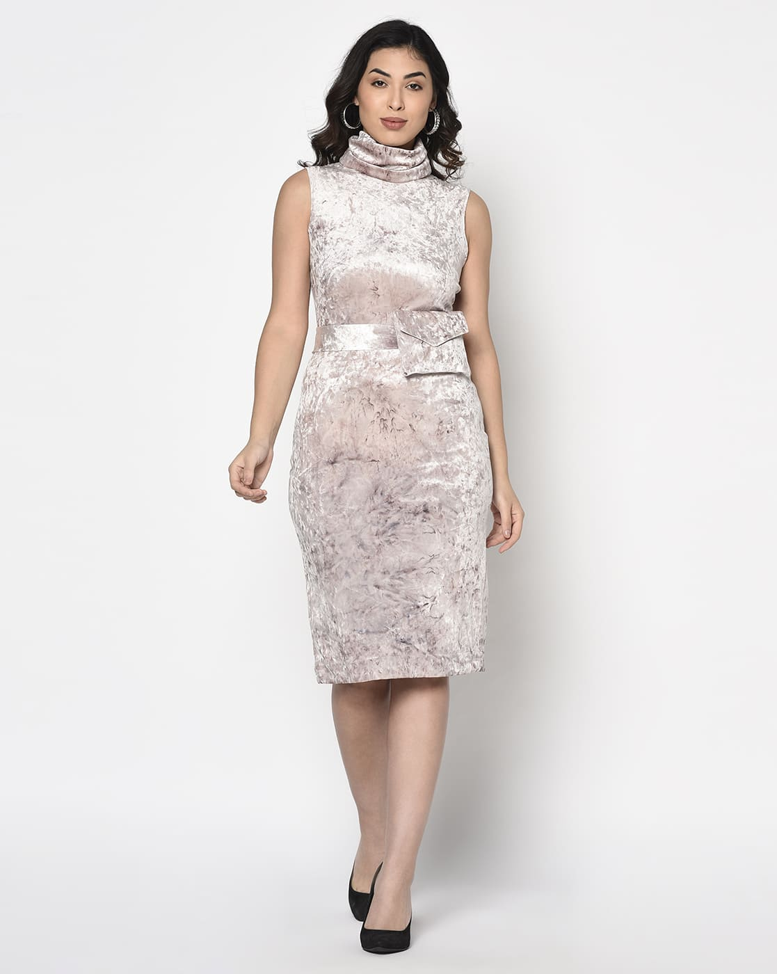 Nude Pink Velvet Turtle dress with pouch