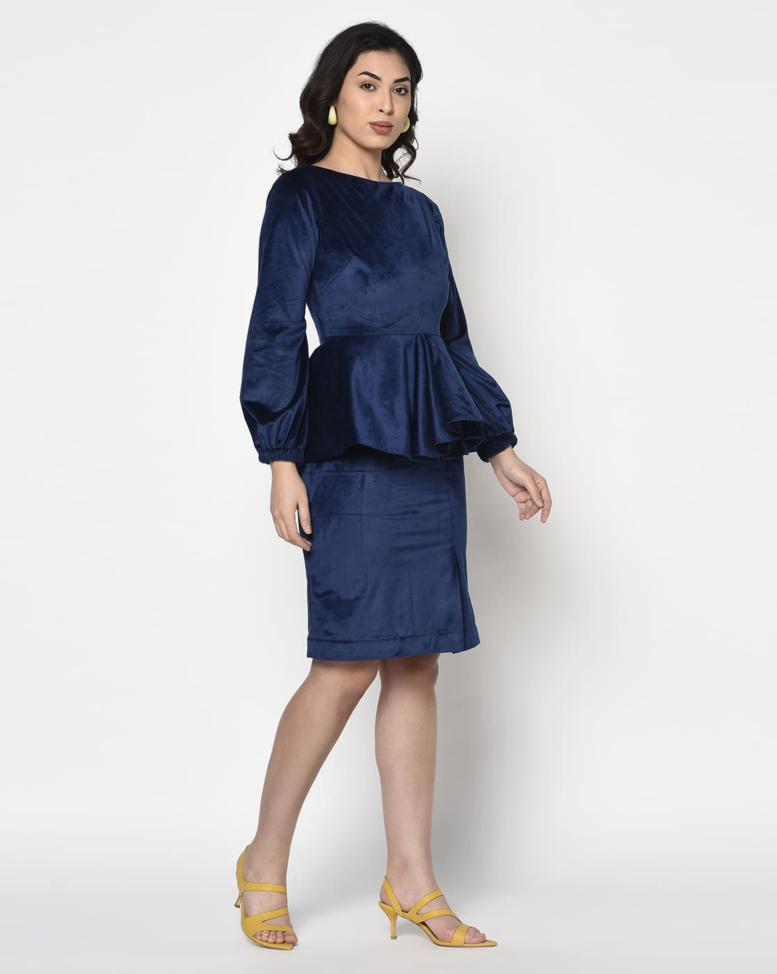Blue Velvet Peplum Dress