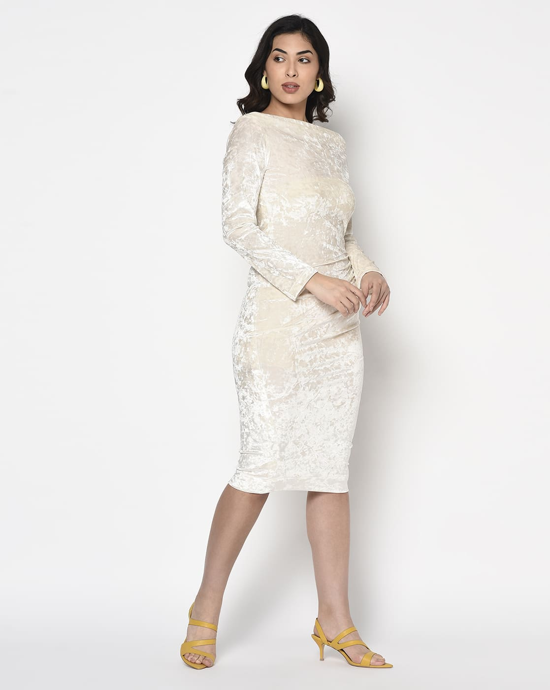 White Velvet Side Pleated Dress