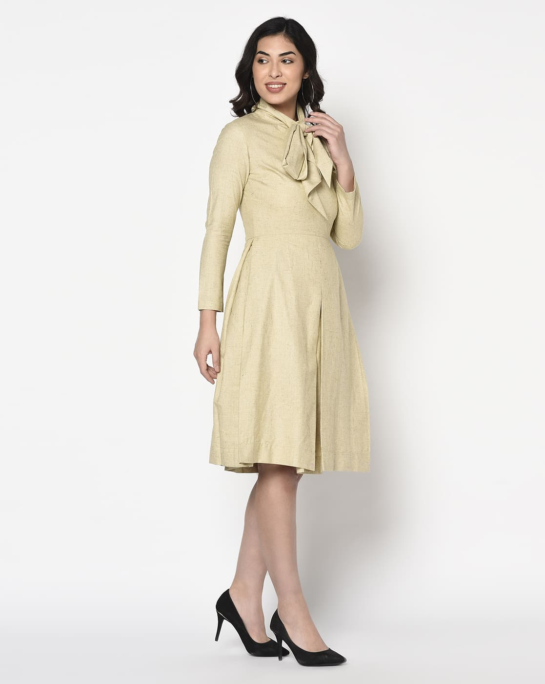 Khaki Lime Yellow Box Pleated Dress With Scarf