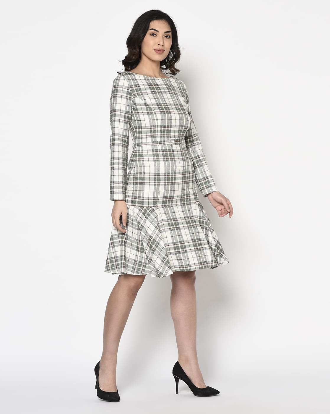 White Plaids Woolen Dress With Belt