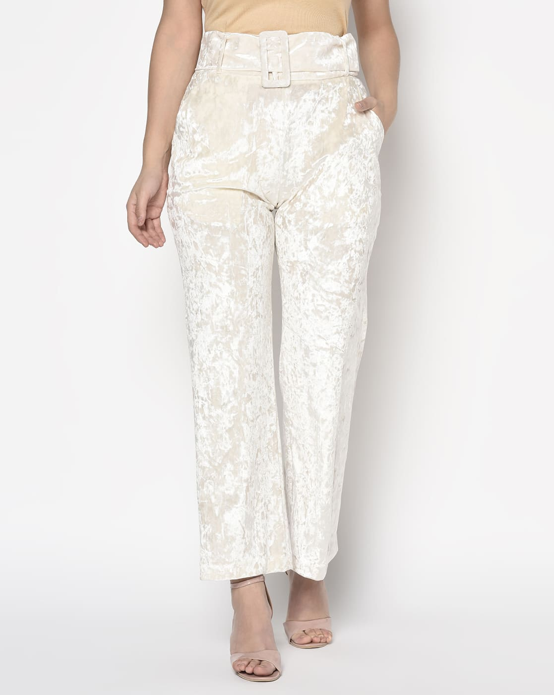 White Velvet High Waist Pant With Belt