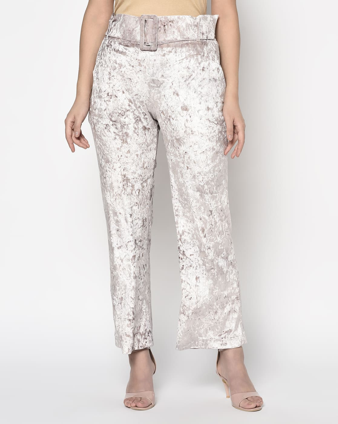 Nude Pink velvet high waist pant with belt