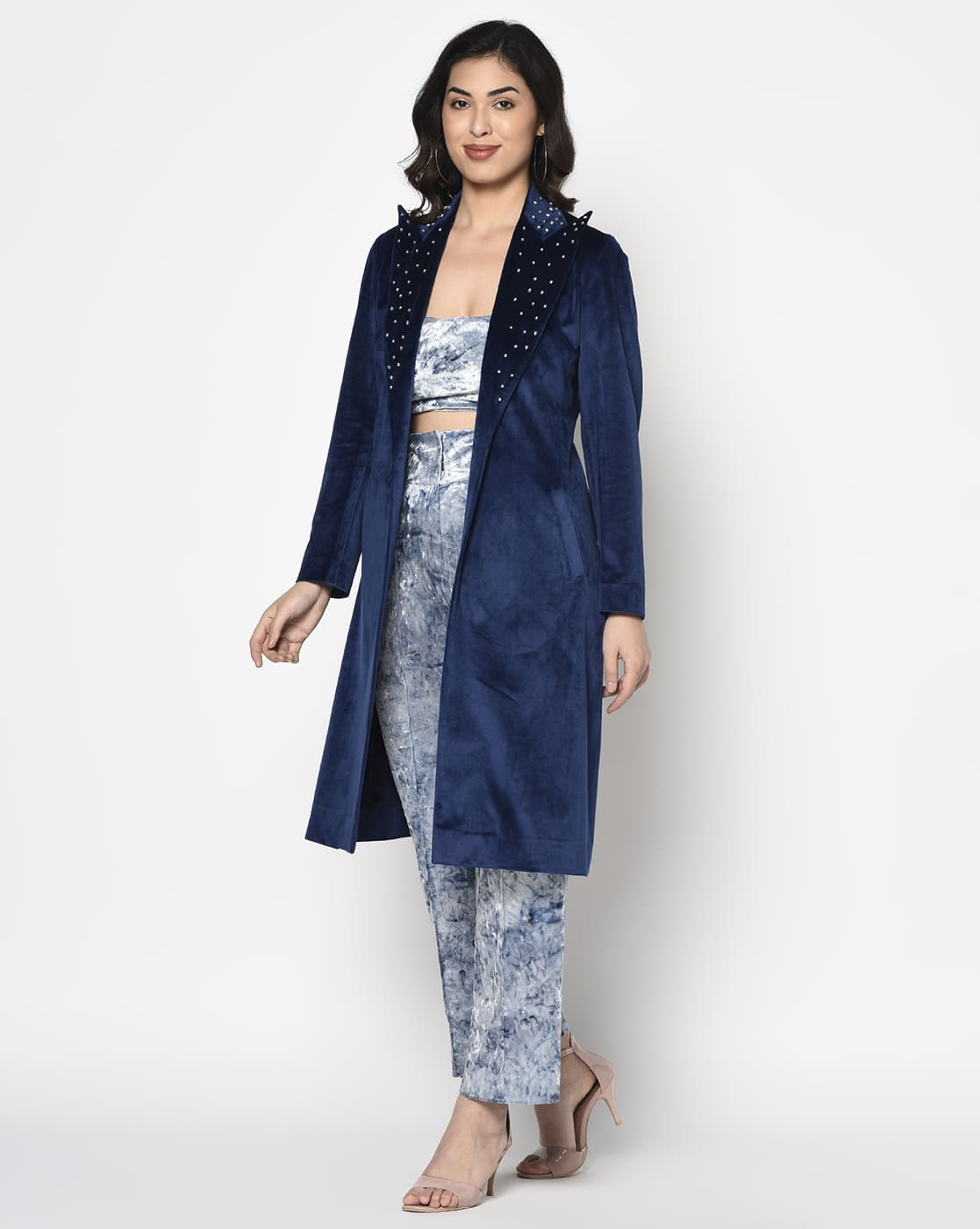 Blue Velvet embellished Trench Coat
